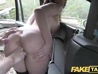 Australian dark haired breezy enjoys to be poked by an old cab driver, while on the back seat