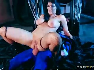 Inked stunner in mesh pantyhose, Romi Rain loves to sense a large schlong in her open arse