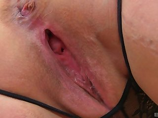 Solo mature amateur BBW blonde MILF model Lacey Starr strips