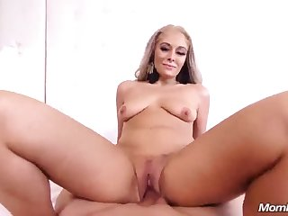 Long haired doxy begs lover to cover her with his cum
