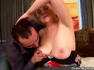 Granny with big tits and hairy pussy rides cock