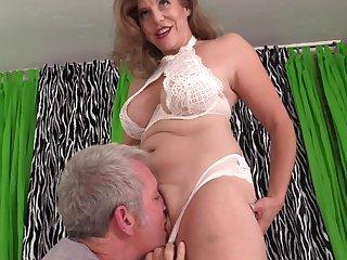Mature with big tits, insane porn scenes on set