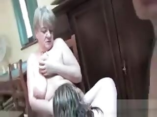 Nasty Grandma In A Foursome With Horny Guys