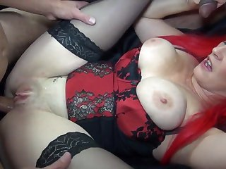 Red-Haired Busty MILF Gets Gangbanged By Big-Dicked Freaks