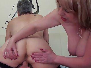 Trisha and Savanna rub, lick and blow on Trickee's male pole