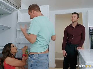 Mature sucks son's best friend cock
