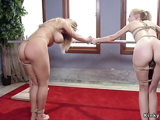 Busty Tits mommy and stepdaughter whipped