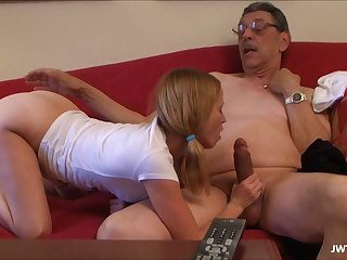Grand Daughter Is Masturbating and sucking old dick