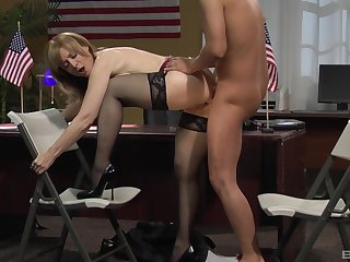 Tight mature fucked at the office by the new guy