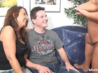 Two horny matures want to share hard and fat pecker on the sofa
