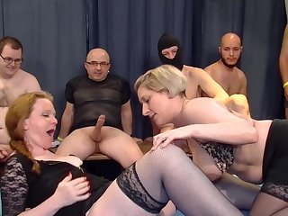 Petra W. and Teresa Lynn swallow cum at an extreme orgy party