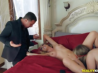 Bisexual babes are in the middle of sex when dude comes