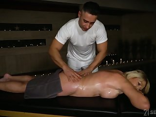 mature blonde with juicy boobs Amy is fucked by young horny masseur