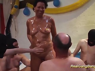 horny german grandmas first extreme oiled gangbang swinger fuck party orgy