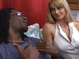 Black guy drills blonde's fuck holes with his giant cock